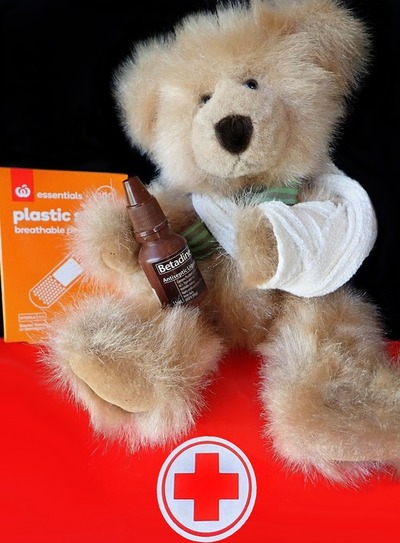 Teddy with plasters, ready for children and first aid